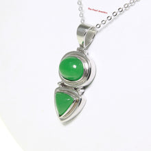 Load image into Gallery viewer, 9210113-Unique-Design-Sterling-Silver-Oval-Triangle-Shaped-Green-Jade-Pendant