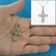 Load image into Gallery viewer, 9210133-Solid-Sterling-Silver-Celadon-Green-Jade-Christian-Cross-Pendant