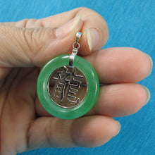 Load image into Gallery viewer, 9210173-Solid-Sterling-Silver-Oriental-Dragon-Green-Jade-Pendant-Chain
