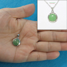 Load image into Gallery viewer, 9210203-Beautiful-Dome-Green-Jade-Pendant-Solid-Sterling-Silver-Cubic-Zirconia