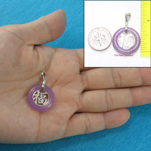 Load image into Gallery viewer, 9210232-Sterling-Silver-Good-Fortunes-Lavender-Jade-Oriental-Style-Pendant