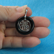 Load image into Gallery viewer, 9210241-Sterling-Silver-Good-Fortunes-Black-Onyx-Oriental-Style-Pendants