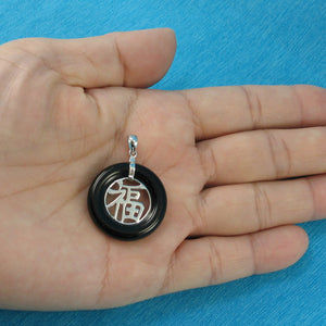 9210241-Sterling-Silver-Good-Fortunes-Black-Onyx-Oriental-Style-Pendants