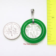 Load image into Gallery viewer, 9210243-Sterling-Silver-Good-Fortunes-Green-Jade-Oriental-Pendant-Necklace