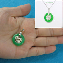 Load image into Gallery viewer, 9210253-Green-Jade-925-Sterling-Silver-Dragon-Pendant-Necklace