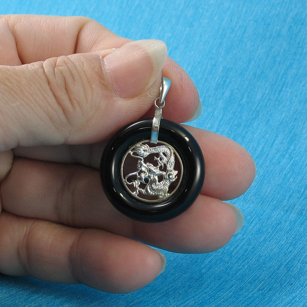 9210281-Solid-Sterling-Silver-Lucky-Dragon-Black-Onyx-Pendant