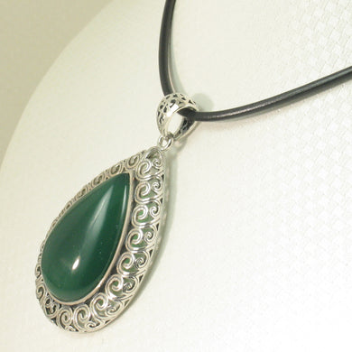 9210603-Solid-Sterling-Silver-Cabochon-Pear-Shaped-Green-Agate-Pendant