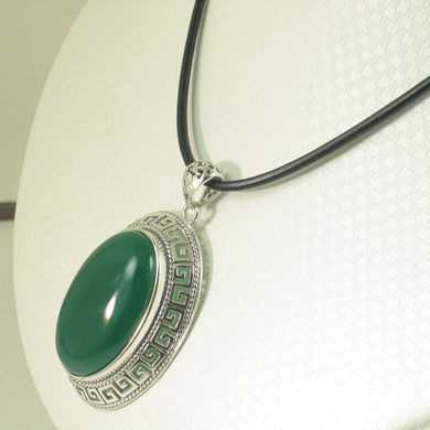 9210613-Cabochon-Oval-Green-Agate-Solid-Sterling-Silver-Pendant