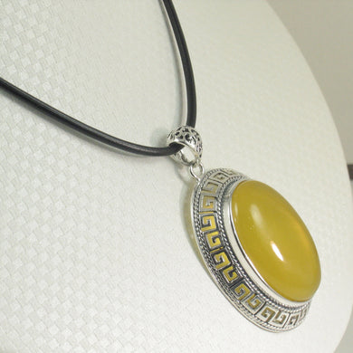 9210614-Cabochon-Oval-Yellow-Agate-Solid-Sterling-Silver-Pendant-Necklace