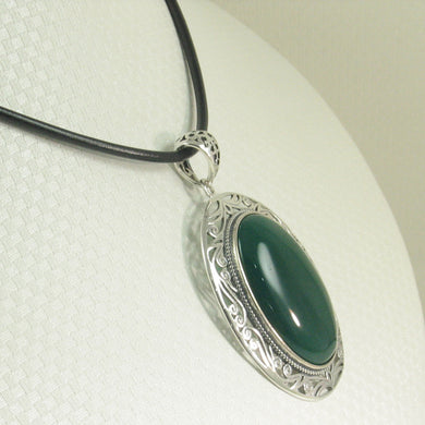 9210623-Solid-Sterling-Silver-Cabochon-Oval-Green-Agate-Pendant