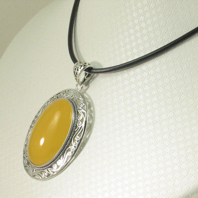 9210624-Solid-Sterling-Silver-Cabochon-Oval-Yellow-Agate-Pendant