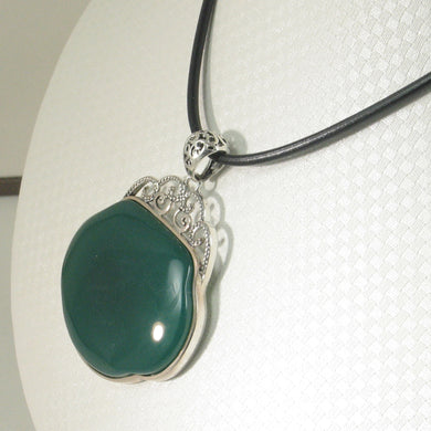 9210633-Solid-Sterling-Silver-Lucky-Lock-Green-Agate-Pendant