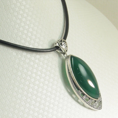 9210643-Solid-Sterling-Silver-Marquise-Cut-Green-Agate-Pendant