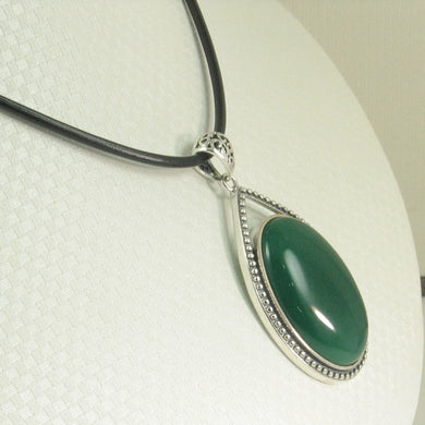 9210663-Cabochon-Oval-Green-Agate-Solid-Sterling-Silver-Pendant-Necklace