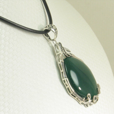 9210673-Solid-Sterling-Silver-Cabochon-Oval-Green-Agate-Pendant