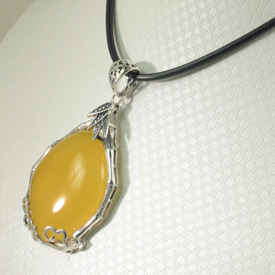 9210674-Solid-Sterling-Silver-Cabochon-Oval-Yellow-Agate-Pendant-Necklace