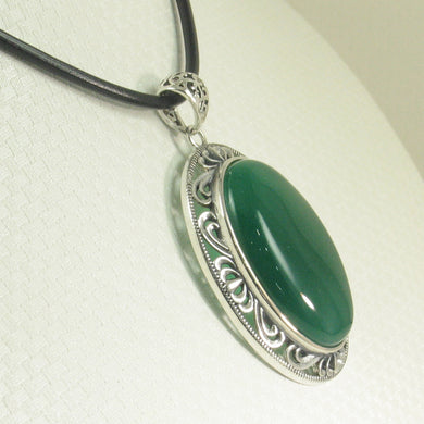 9210683-Solid-Sterling-Silver-Cabochon-Oval-Green-Agate-Pendant