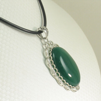 9210693-Solid-Sterling-Silver-Cabochon-Oval-Green-Agate-Pendant-Necklace