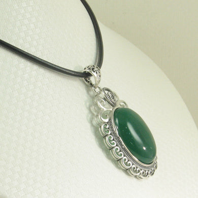 9210703-Solid-Sterling-Silver-Large-Cabochon-Oval-Green-Agate-Pendant