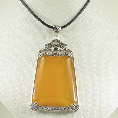 9210734-Solid-Sterling-SilverLarge-Cabochon-Honey-Agate-Pendant