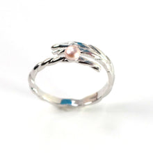 Load image into Gallery viewer, Solid Sterling Silver .925 Pink Pearl Ring Wheat Style Adjustable Ring Size