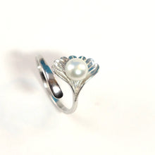 Load image into Gallery viewer, Solid Sterling Silver .925 White Pearl Ring Shell Style Adjustable Ring Size