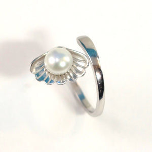 Solid Sterling Silver .925 White Pearl Ring Shell Style Adjustable Ring Size