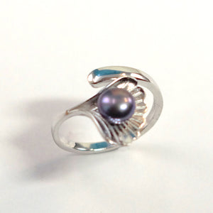 Solid Sterling Silver .925 Black-gray Pearl Ring Shell Style Adjustable Ring Size