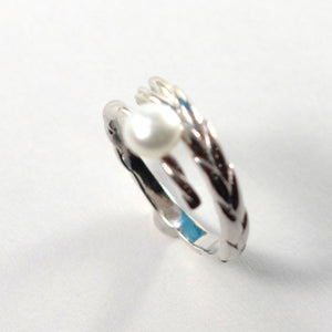 Solid Sterling Silver .925 White Pearl Ring Wheat Style Adjustable Ring Size