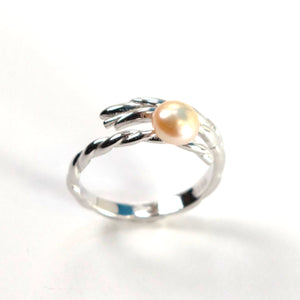 Solid Sterling Silver .925 Peach Pearl Ring Wheat Style Adjustable Ring Size