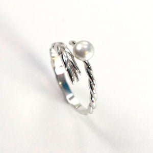 Solid Silver .925 Silver-gray Pearl Ring Wheat Style Adjustable Ring Size