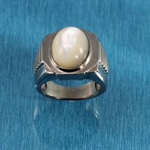 Load image into Gallery viewer, 9310020-Sterling-Silver-Men's-Ring-Bezel-11x16mm-Mother-of-Pearl