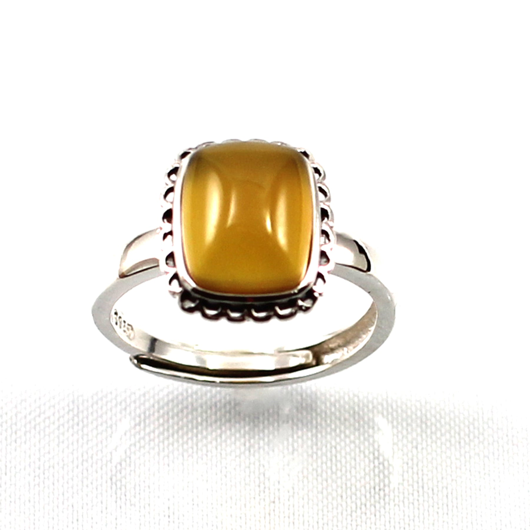Details about  /Yellow Agate Solitaire Ring Hand-Crafted of Sterling Silver .925 TPJ