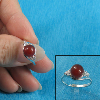 9310214-Solid-Sterling-Silver-Carnelian-C.Z.-Solitaires-Accents-Ring