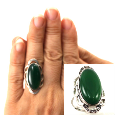 9310733-Green-Agate-Antique-Style-Solitaire-Adjustable-Size-Ring-.925-Silver