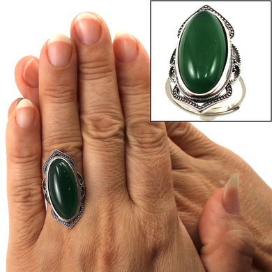 9310743-Green-Agate-Antique-Style-Adjustable-Size-Solitaire-Ring-Sterling-Silver