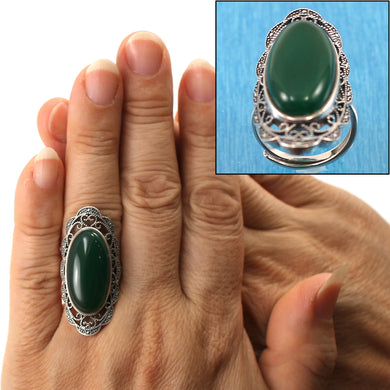 9310773-Solid-Sterling-Silver-Green-Agate-Solitaire-Adjustable-Size-Ring