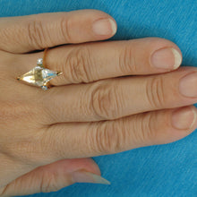 Load image into Gallery viewer, 9339995-Solid-Sterling-Silver-925-Gold-Plated-Cute-Genuine-Crystals-Prism-Ring