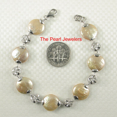 9400184-Sterling-Silver-Plumeria-7-Segments-of-Champagne-Coin-Pearl-Bracelet
