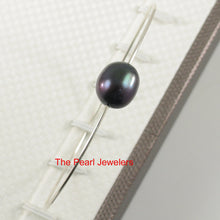 Load image into Gallery viewer, 9400231-Simple-Handcrafted-Bangle-Solid-Silver-925-Black-Freshwater-Pearl