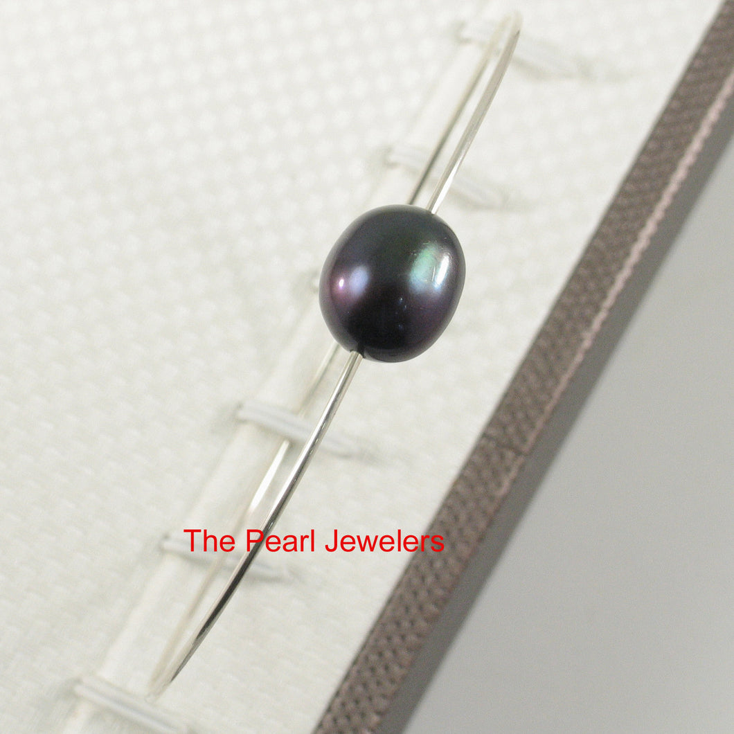 9400231-Simple-Handcrafted-Bangle-Solid-Silver-925-Black-Freshwater-Pearl