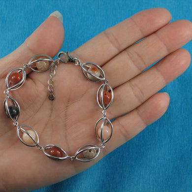 9429947-Genuine-Multi-Color-Agate-Solid-Sterling-Silver-Lucky-Lantern-Bracelet