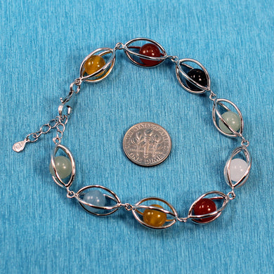 9429948-Genuine-Solid-Sterling-Silver-Lucky-Lantern-Multi-Color-Agate-Bracelet