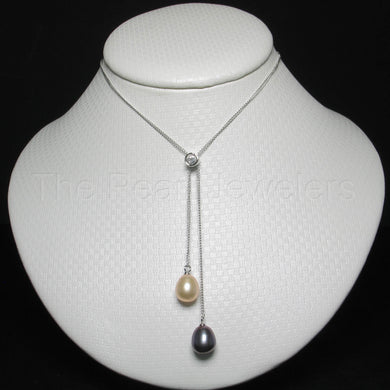 9600026-Sterling-Silver-Cubic-Zirconia-Peach-Black-Pearl-Handcrafted-Necklace