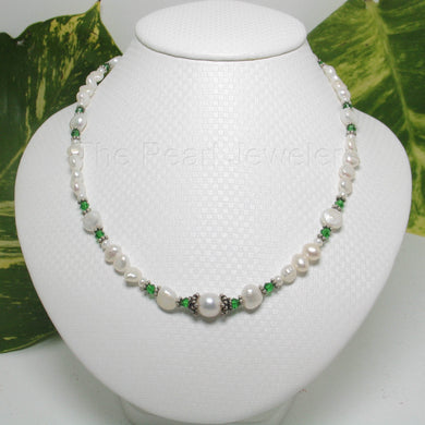 9600110E-Baroque-White-F/W-Pearls-Emerald-Glass-Crystals-Necklace