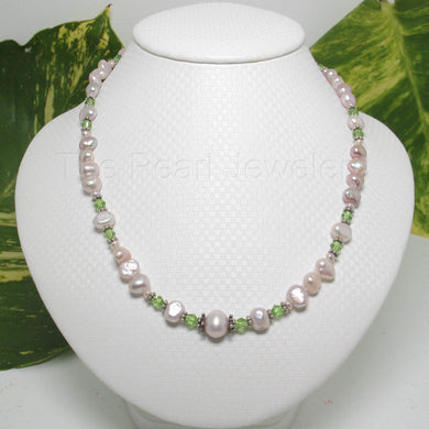 9600112E-Silver-.925-Pink-Baroque-Pearls-Emerald-Glass-Bead-Necklace