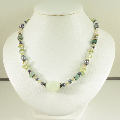9600133-Genuine-New-Jade-Pearls-Crystal-Chips-Silver-925-Necklace