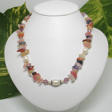 9600142-Sterling-Silver-White-F/W-Cultured-Pearls-M/C-Gemstone-Chips-Necklace