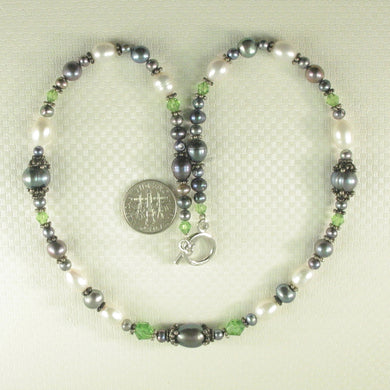 9300153-Sterling-Silver-Toggle-Clasp-Black-Pearls-Mixed-Beads-Necklace