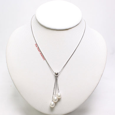 9600200-Sterling-Silver-Triple-Dangle-Genuine-White-Cultured-Pearls-Necklace